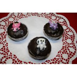 Schokoladem Muffins mit Zuckertieren (Zoo)
